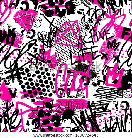 Abstract seamless chaotic pattern with urban graffiti words, scuffed and sprays. Grunge texture background. Wallpaper for girls. Fashion sport style Foto d'archivio ©