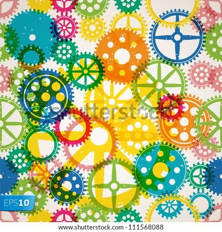 Abstract seamless clockwork background, vector Eps 10 illustration.