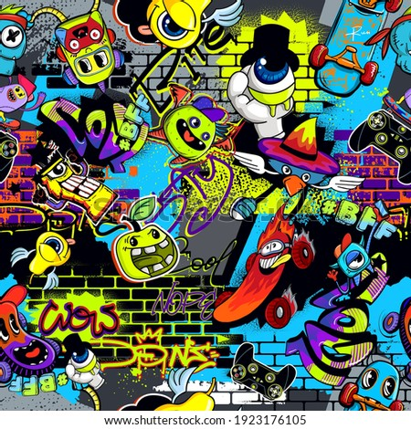Abstract seamless comics monsters pattern. Colorful dude character repat print. Grunge street art repeated ornament.