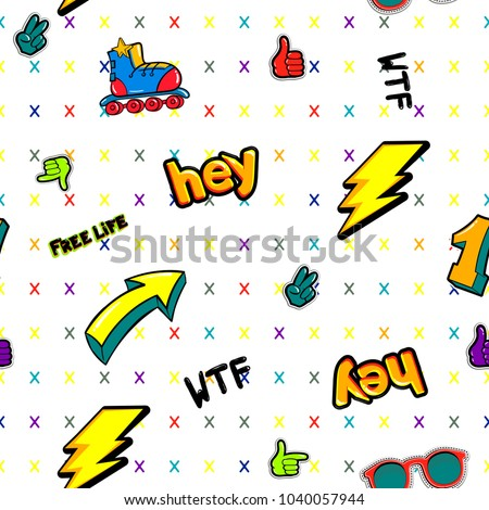 Abstract seamless comics style pattern with cartoon drawing sign arrow, lightning,  nombre one, hand ok, victory, word hey, wtf, free life, roller skates, sunglasses. teenagers repeated backdrop