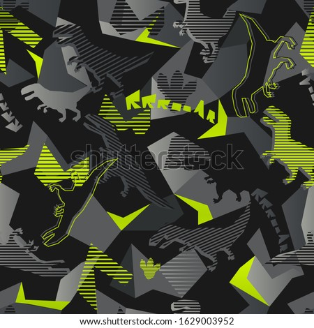 Abstract seamless dinosaurus pattern. T rex repeated print for fashion textile, sport clothes, wrapping paper. Geometric repeat ornament.