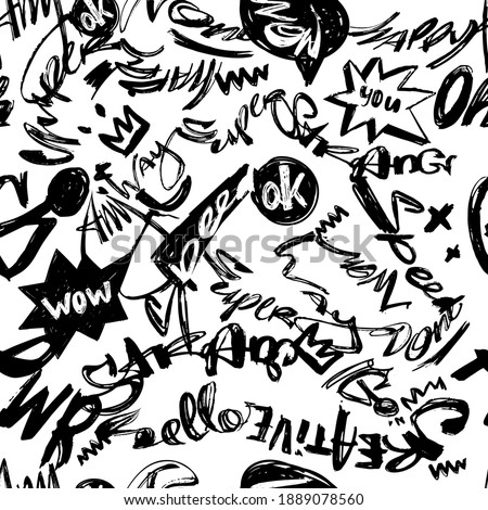 Abstract seamless doodle text pattern. Black and white teenagers repeated backdrop for textile, clothes, wrapping paper. Lettering vector repeats print.