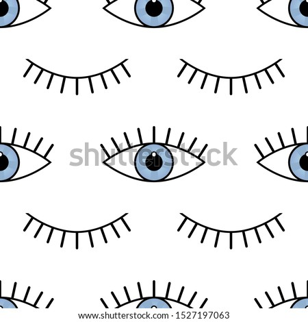 Abstract seamless eyes pattern for girls, boys. Creative vector pattern with psychodelic eyes. Funny eyes pattern for textile and fabric. Fashion sport style. Background for kids open and closed eyes