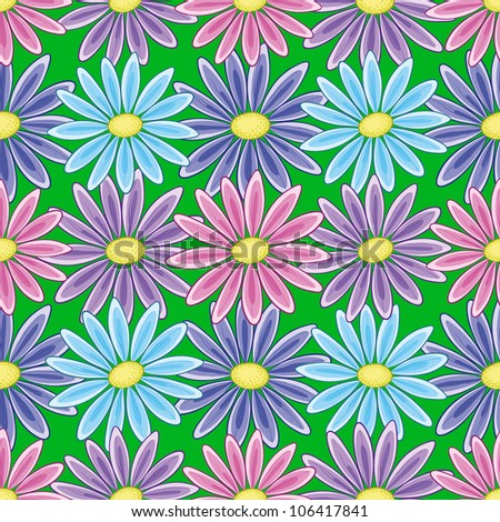 Abstract seamless floral background with a various symbolical flowers. Vector