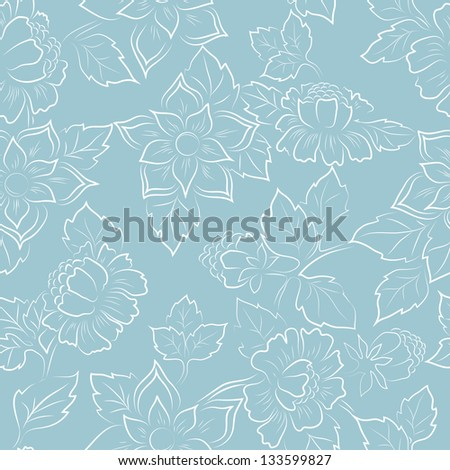 Abstract seamless floral pattern fabric