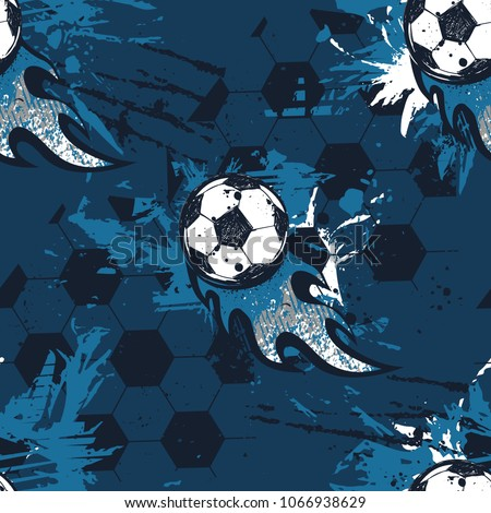 Abstract seamless football pattern. Sport game wallpaper. Set of Soccer ball on grunge urban background,curved lines, shabby shape texture,  spray paint ink elements. boy repeated backdrop