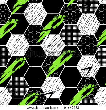 Abstract seamless Football pattern with vertical fading lines, tracks, halftone stripes. Extreme sport style illustration. Trendy Urban colorful backdrop Soccer. Grunge, neon texture pattern.