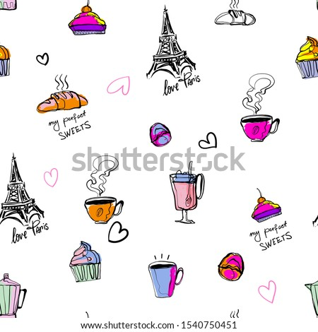 Abstract seamless French pattern design My  best Paris morning. Repeated print with Eiffel towers, croissant, cup of tea, coffee, hearts. sketch style repeats ornamet.