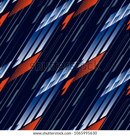 Abstract seamless geometric haotic pattern with scuffed, drops, sprays, and ink droplets. Vertical fading lines, tracks, halftone stripes. Extreme sport style illustration. Grunge, texture for textil.