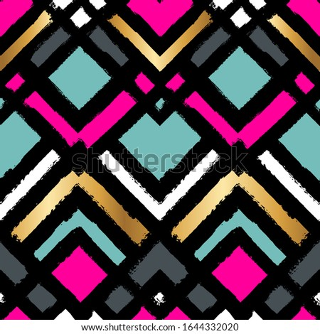 Abstract seamless geometric pattern. Curved lines repeats ornament. Iterative wrapping paper. Ethnic repeated print.