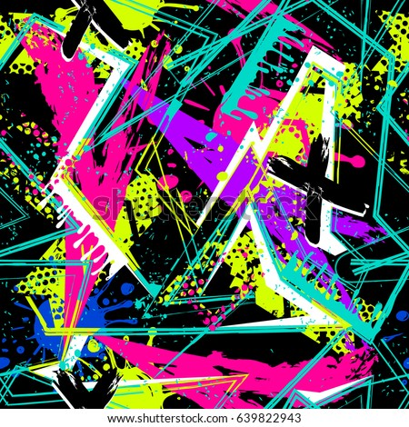 Abstract seamless geometric pattern for girls,  textile, clothes.  Grunge urban geometric repeated backdrop worn  shape arrow,  line,  spray paint,  ink, dots. Chaotic colorful neon wallpaper