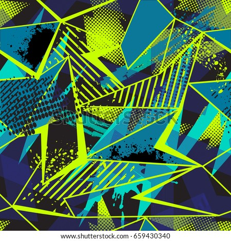 Abstract seamless geometric pattern. Grunge urban repeated backdrop for textile, wrapping paper. Lines elements, triangles, arrows in bright blue, green, black colors.