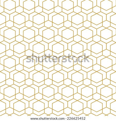 Abstract seamless geometric pattern. Monochrome white wallpaper.Geometry gold grid texture.Vintage style texture.Vector illustration
