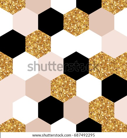 Abstract seamless geometric pattern. Vector illustration. Geometry gold, black and white hexagon grid texture. Chic gold mosaic tiles