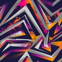 Abstract seamless geometric pattern with curved lines, dots,  Shabby shape elements, colorful spray paint ink. Grunge urban pattern for boy, girl, sport clothes, wrapping paper. Gradient colors