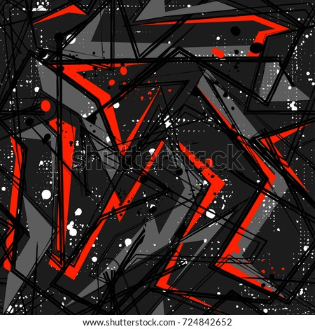 Abstract seamless geometric pattern with curved lines, spray paint ink elements. Grunge urban repeated backdrop for textile, clothes, wrapping paper. Chaotic background in grey, black, red colors