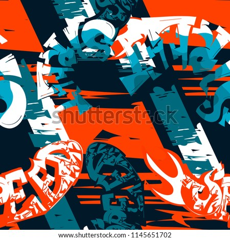 Abstract seamless geometric pattern with graffiti urban style text.  Grunge urban wallpaper.