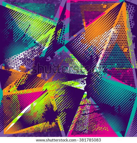 Abstract seamless geometric pattern with urban elements, scuffed, drops, sprays, triangles, neon spray paint. Grunge texture background. Wallpaper for boys, girls. Creative original repeated backdrop