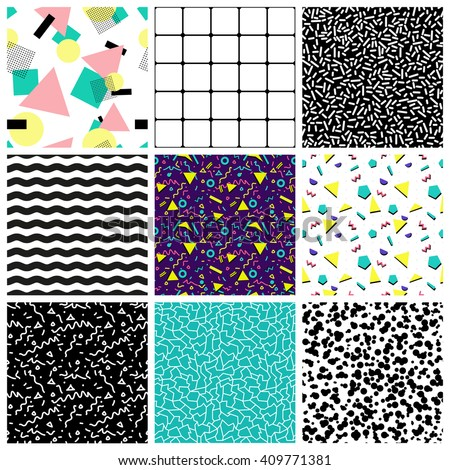 Abstract seamless geometric patterns.80's-90's styles. It can be used in printing, website background and fabric design.