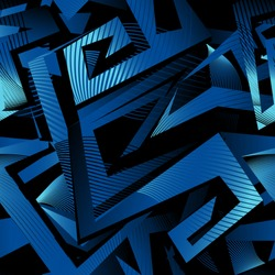 Abstract seamless geometric urban pattern. monochrome curved line wall. technology style wallpaper. blue and black repeated backdrop for boy, sport textile, clothes. Labyrinth wall