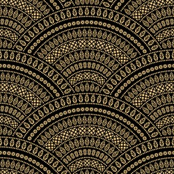 Abstract seamless geometrical folk wavy background from golden and black fan shaped ornate feathers, waves with ethnic patterns. Fish scale. Batik painting. Oriental textile print. Art deco wallpaper
