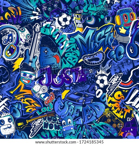 Abstract seamless graffiti comics pattern. Urban street art repeat print for fashion textile, sport clothes, wrapping paper. Teenagers endless ornament drawing in cartoon style.