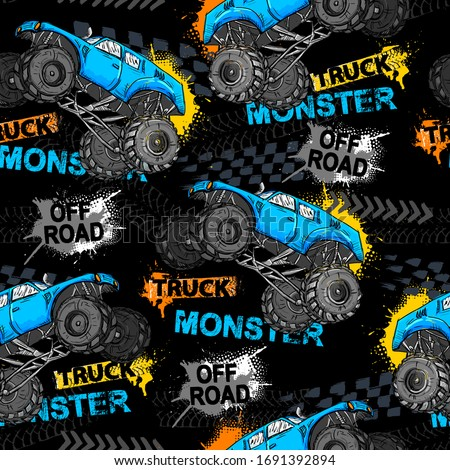 Abstract seamless grunge pattern for boy. Urban style modern background with Monster Truck car, trace of tire. Drive and speed modern creative wallpaper for guys. Extreme style Stockfoto ©