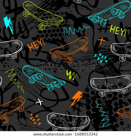 Abstract seamless grunge pattern for boy. Urban style modern background with skateboards. Sport extreme style creative wallpaper for guys.