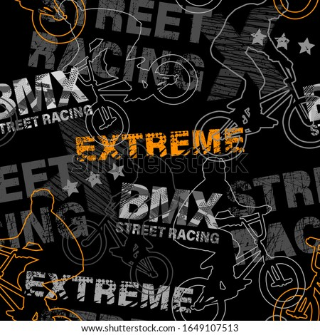 Abstract seamless grunge pattern for guys. Urban style modern background with boy on bicycle BMX and skateboards. Sport extreme style creative wallpaper ストックフォト ©