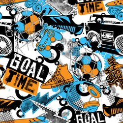 Abstract seamless grunge urban pattern for boys, sketch drawn of soccer ball, boots, skateboard, sneakers, , record player, text , motivation slogan Goal time