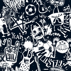 Abstract seamless grunge urban pattern with monster character, sketch drawn of soccer ball, stars, electro guitar, record player, text Super drawing in graffiti style, motivation slogan Only win