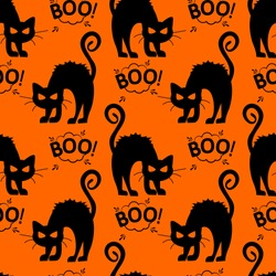 Abstract seamless halloween cat pattern for girls or boys. Creative vector pattern with cat, cloud boo, halloween. Funny halloween cat pattern for textile and fabric. Fashion style. Colorful picture.