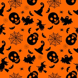 Abstract seamless halloween pattern for girls or boys. Creative vector background with witch, bat, ghost. Funny pattern for textile and fabric. Fashion halloween witch style. Colorful bright picture