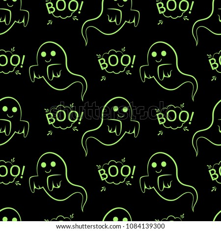Abstract seamless halloween pattern for girls or boys. Creative vector pattern with ghost, cloud boo. Funny ghost wallpaper for textile and fabric. Fashion halloween style. Colorful bright picture