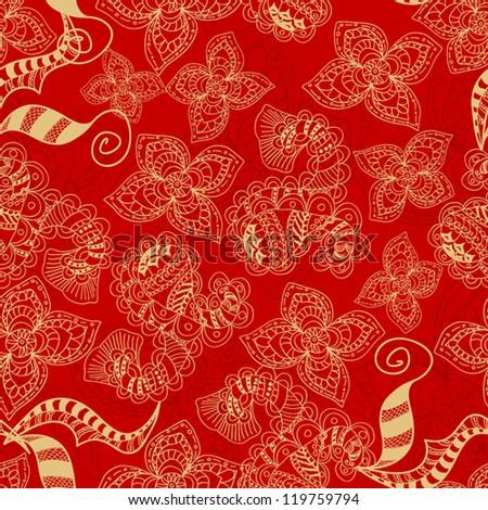 Abstract Seamless Hand-Drawn Paisley Pattern
