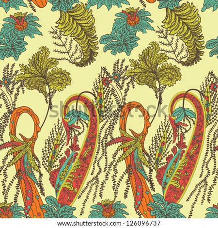 Abstract Seamless Hand-Drawn Paisley Pattern