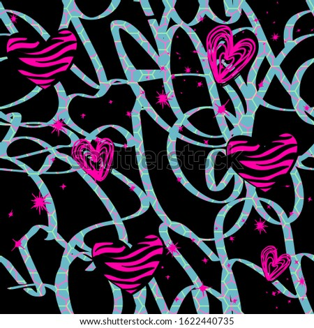 Abstract seamless hearts pattern. Love Wave repeats print. Valentine's day repeated ornament for fashion clothes, wrapping paper.