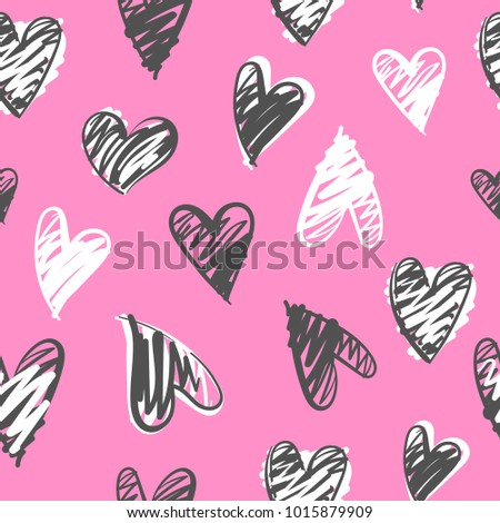 Abstract seamless hearts pattern. Tender pink background with white and grey hearts drawing in sketch style. Valentine day wallpaper. Romantic repeated backdrop for textile, clothes, wrapping paper