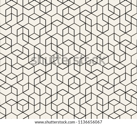 Abstract Seamless Lattice Pattern. Modern / Vintage Fashion Stylish Repeating Geometric Grid. Simple Design Background. Vector Illustration.