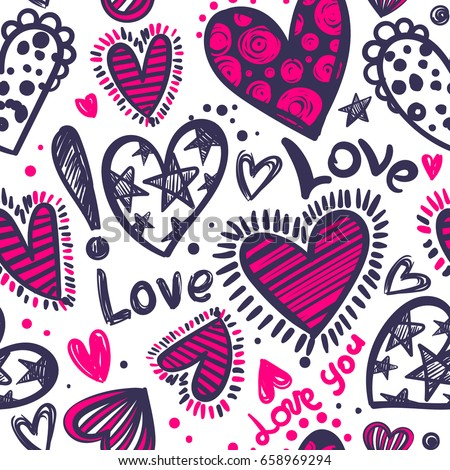 Abstract seamless love pattern. Valentines day wrapping paper. Girlish repeated backdrop with hearts, stars drawing in sketch style. Romantic wallpaper for girls, textile, clothes, wrapping paper