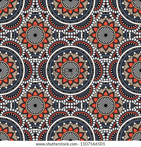 Abstract seamless mandala background. Texture in gray and orange colors. Oriental pattern for design, fashion print, scrapbooking