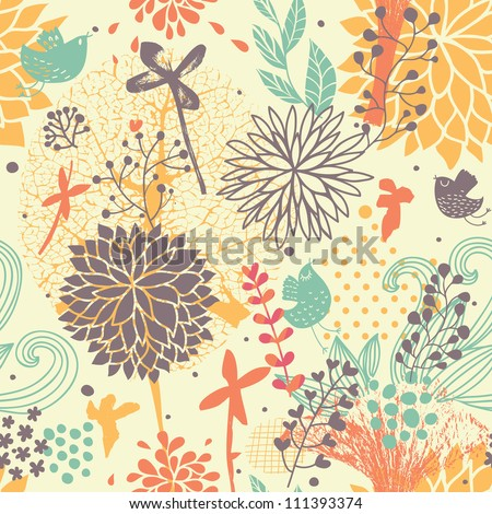 Abstract seamless pattern. Cartoon birds in flowers in vector. Summer background