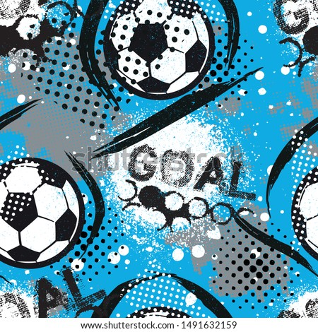 Abstract seamless pattern for boys. Football pattern. Grunge urban pattern with football ball. Sport wallpaper on white background with black and green. Repeated sport pattern.