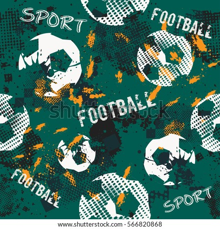 Abstract seamless pattern for boys. Football pattern. Grunge urban pattern with football ball. Sport wallpaper on black background with multicolor spots. Repeated sport pattern.