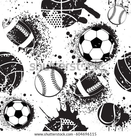 Abstract seamless pattern for boys. Football pattern. Sport urban pattern with ball. Sport wallpaper black and white colors. Dark grunge background. repeated sport pattern.