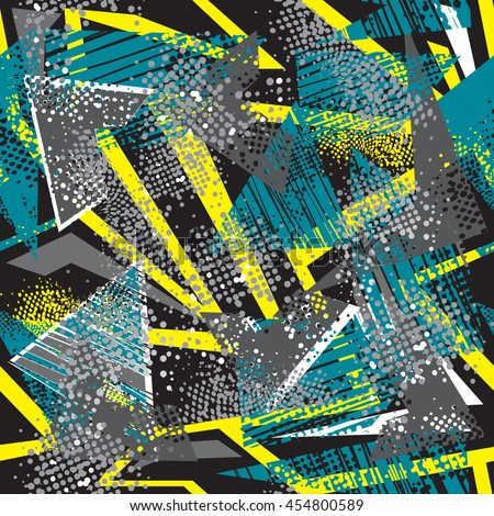 Abstract seamless pattern for boys. Grunge urban modern geometric background for guys. Chaotic wallpaper for girl. Repeated backdrop for fashion, sport clothes in yellow, blue, black and white colors