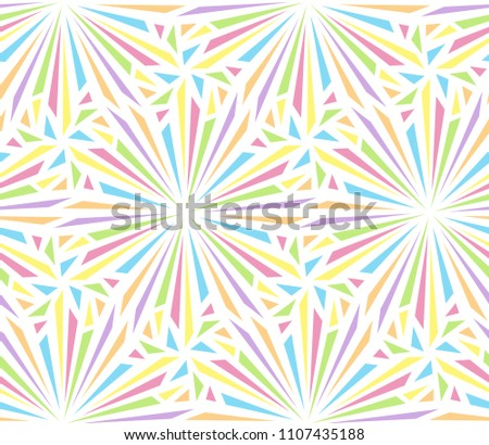 Abstract seamless pattern for design of party . Multi-colored radial explosions on a white background