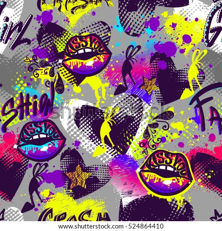Abstract seamless pattern for girl, fashion clothes, teenagers.Repeated backdrop with kiss lips spray paint, paris Eiffel Tower, shoes, grunge hearts, dots, shape. Grey background and bright elements