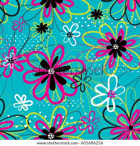Abstract seamless pattern for girls. Creative vector background with urban elements and hand drawn colorful flowers. Funny grunge wallpaper for textile and fabric. Fashion style.