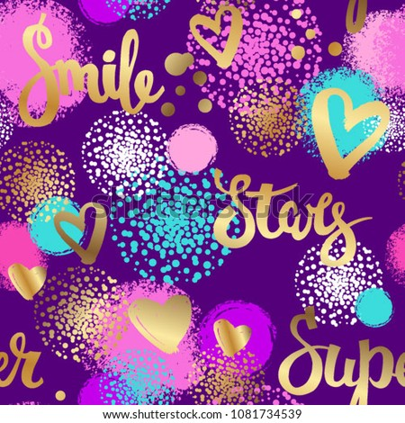 Abstract seamless pattern for girls. Fashion wallpaper with golden words and hearts on violet background